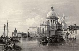 picture of luigi  - Antique illustration of  Santa Maria della Salute basilica - JPG
