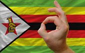 Ok Gesture In Front Of Zimbabwe National Flag
