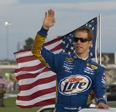 ATLANTA, GA - SEP 02, 2012:  Brad Keselowski (2) waves to the crowd before he races at the AdvoCare