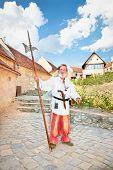 RASNOV, ROMANIA-JULY 29:The descendant of medieval German Teutonic knight .The Rasnov castles was founded around 1225 by German Teutonic Knights. July 29. 2012. Rasnov, Romania.