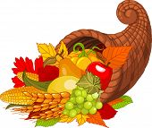 stock photo of cornucopia  - Illustration of a Thanksgiving cornucopia full of harvest fruits and vegetables - JPG