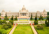 stock photo of vidhana soudha  - The majestic Vidhana Soudha the state legislature building in Bangalore India - JPG