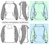 Vector. Men's hooded sweatshirt with pocket (back, front and side views). Raglan sleeve. Outlines