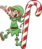 Cute cartoon Christmas elf holding a candy cane. Vector illustration with simple gradients. All in a single layer.