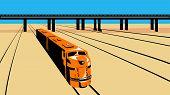 Retro de alto ángulo de tren diesel