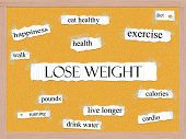 stock photo of pegboard  - Lose Weight Corkboard Word Concept with great terms such as exercise walk diet cardio and more - JPG