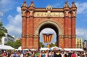 BARCELONA, SPAIN - SEPTEMBER 11: Arc de Triomf during the National Day of Catalonia on September 11,