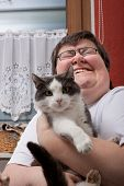 Mentally Disabled Woman With Cat