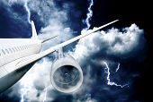 airplane crash in a storm with lightning concept. accident airplane in the sky. emergency landing. f