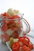 Fresh Giardiniera Salad In A Canning Jar