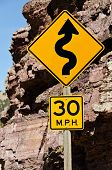 picture of mph  - Slow down for the sharp curves ahead - JPG