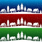 Christmas Village With Snow Seamless Pattern