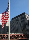 U.S FLAG AND URBAN TRAIN IN CHICAGO, ILLINOIS