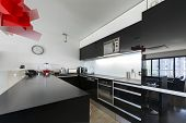 Modern Black And White Kitchen Interior