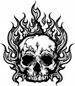 stock photo of skeletal  - Skull on Fire with Flames Vector Illustration - JPG