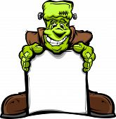 Happy Frankenstein Halloween Monster With Sign Cartoon Vector Illustration