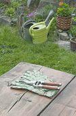 Garden Tools On Garden Table