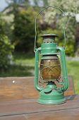 Vintage Kerosena Lamp In Garden