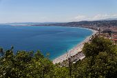view of mediterranean resort, Nice, Cote d Azur, France  french riviera  turquoise sea and perfect s