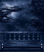 stock photo of balustrade  - Fantasy background with dark night - JPG