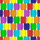 Seamless Background Composed Of Colorful Ceramic Cups