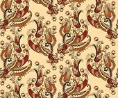 Brown Paisley  With Wavy Lines And Curlicues