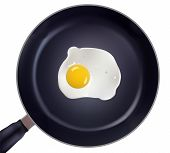 image of saucepan  - Fried egg in a frying pan vector - JPG