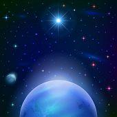 Fundo de espaço com o planeta e o sol