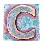 Wooden alphabet block, letter C