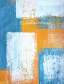 Teal and Orange Abstract Art Painting