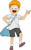 foto of sling bag  - Illustration of Little Kid Boy Student Carrying a Sling Bag - JPG
