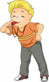 Illustration of Little Kid Boy Blowing a Whistle