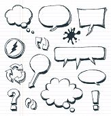 stock photo of symbol punctuation  - Illustration of a group of outlined hand drawn sketched elements arrows signs and speech bubbles on school paper with red and blue stripes - JPG