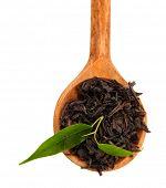 Seco chá preto com folhas verdes em colher de pau, isolado no branco