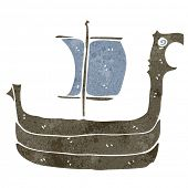 foto of viking ship  - retro cartoon viking ship - JPG