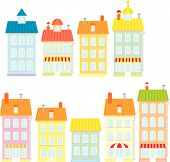 pic of row houses  - Vector clip - JPG