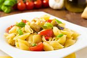 stock photo of artichoke hearts  - fresh pasta with mixed grilled vegetables and basil - JPG