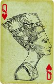 stock photo of nefertiti  - Playing card with the drawn figure - JPG