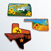 Retro state shape illustrations of Kansas, Oklahoma, and Texas