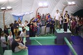 MOSCOW - NOV 17: Participants of the 5th parkour contest to move at the University of Physical Educa