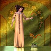 Art Nouveau mulher - orquídeas