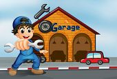foto of kinetic  - Illustration of a happy boy in front of a garage - JPG