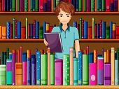 Illustration of a man holding a book in the library
