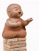 child monk isolated on white background