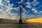stock photo of sankt-peterburg  - Alexander Column in the Morning at Palace Square Saint - JPG