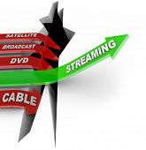Streaming television content is the way of the future illustrated by this picture of one arrow representing TV downloads or torrents vs satellite, broadcast, DVD and Cable viewing