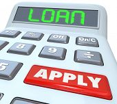 pic of red back  - A calculator with the word Loan and a red button with Apply to illustrate submitting an application to borrow money and finance a large purchase - JPG