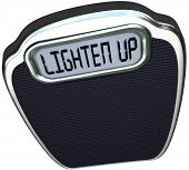 Lighten Up words on scale encouraging you to cheer your mood and lose weight to become lighter and h