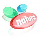The word Natural on a pill, vitamin or supplement to illustrate the health benefits of an organic or