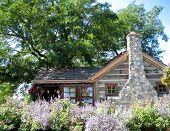 Log cabin and lavendar